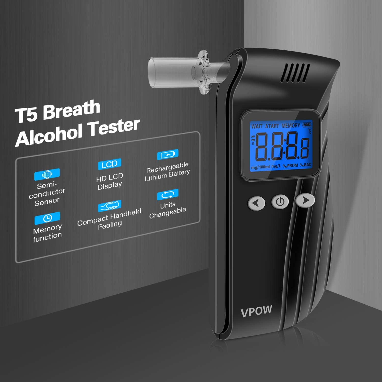 10 mouthpieces and 1 Store Bag USB Rechargeable and Easy for Personal Use Breathalyser with Digital LCD /& Memory Function Professional alcohol tester VPOW Breathalyzer