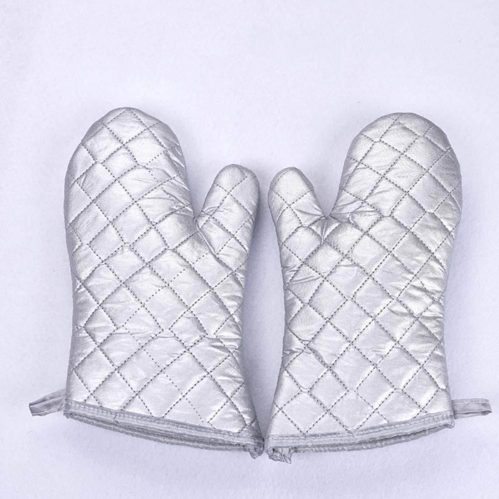LPYMX gloves High temperature anti-hot oven microwave oven gloves bakery kitchen durable kitchen gloves Working gloves (Color : Silver, Size : 27.515cm)