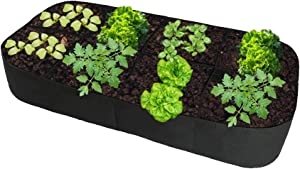 Fabric Divided Raised Garden Bed Outdoor 6FT X 3FT 8 Holes Rectangle Planting Container Garden Boxes for Vegetables