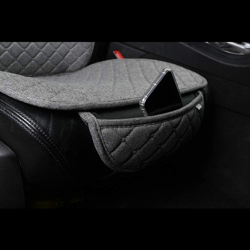 Grey West Llama Front Car Seat Cover with Lumbar and Headrest Pillow,with Headrest Cover and Pocket.Breathable Flax Cloth,Non-Slip Driver Seat Cover for Truck SUV Honda