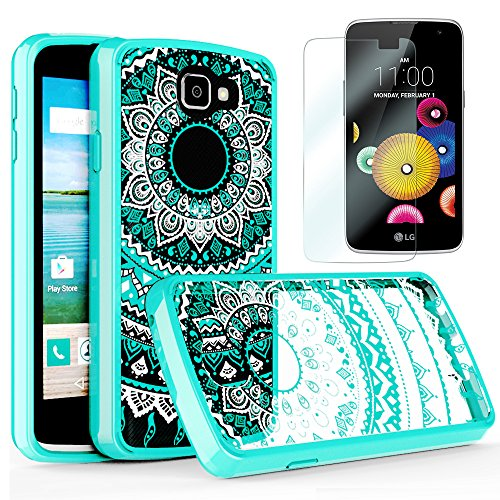 LG Optimus Zone 3 / LG Spree / K4 / Rebel Lte Clear Case with HD Screen Protector, AnoKe Scratch Resistant Colorful Totem Mandala Flower Slim Fit Acrylic TPU Bumper Hybrid For LG K4 -TM Mint (Lg Phone Case Optimus compare prices)
