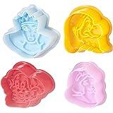 Home Cake Design Confezione 4 Stampini, Espulsione Disney, Giallo/Rosa/Azzurro/Rosso