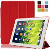 Housse Coque pour iPad 2/3/4-Besmall Etui Smart Housse de protection en polyuréthane Transparent housse ipad 2/3/4(modèle A1395 A1397 A1396 A1416 A1430 A1403 A1458 A1459 A1460) Rouge