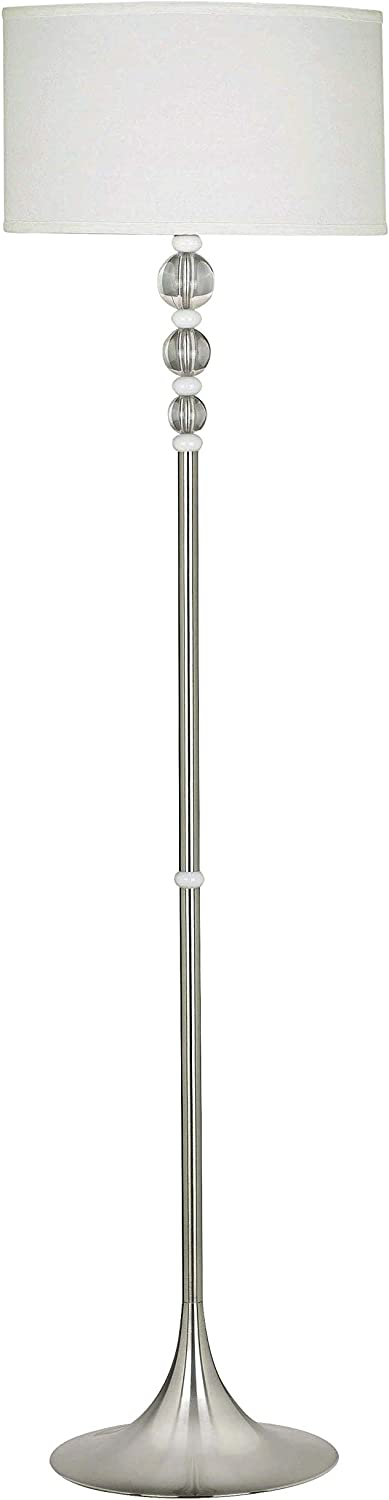 Kenroy Home 20119BS Luella Floor Lamps, Small, Brushed Steel Finish Clear & White Acrylic Accent