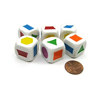 Pack of 6 20mm Educational Color Shapes Dice (Series 2) - White with Assorted: Toys & Games