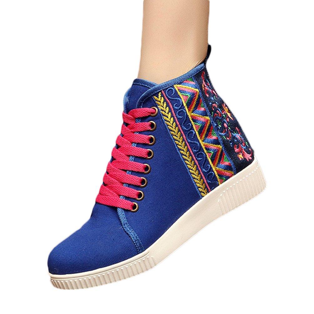 Insun Zapatos de Cordones Para Mujer Alpargatas de Mujer con Bordado 37 EU|Azul Marino