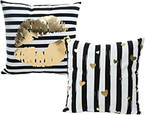 Monkeysell Bronzing Gold Pillow Flannelette Home Pillowcases Throw Pillow Cover Cushion Lumbar Pillow Lips Love Pattern Design (2Pcs-White Stripe)