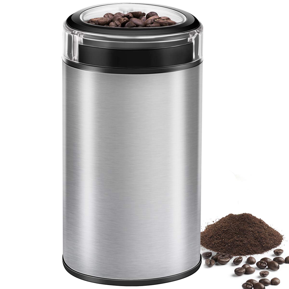 Coffee Grinder Electric Spice Grinder, CUSINAID Stainless Steel Blades Grinder for Coffee Bean Seed Nut Spice Herb Pepper, Transparent Lid with 50g Big Capacity Silver by CUSINAID