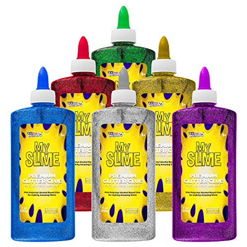 My Slime 6 Color Premium Glitter Glue Pack (8 Ounce Bottles) - Red, Green, Blue, Gold, Purple, Silver - Kid Safe, Non-Toxic, Washable - Superior Formula School Glue for Making Amazing Fun Slime Art