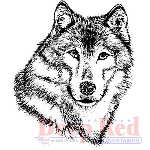 - Deep Red Stamps Wolf Portrait Rubber Stamps