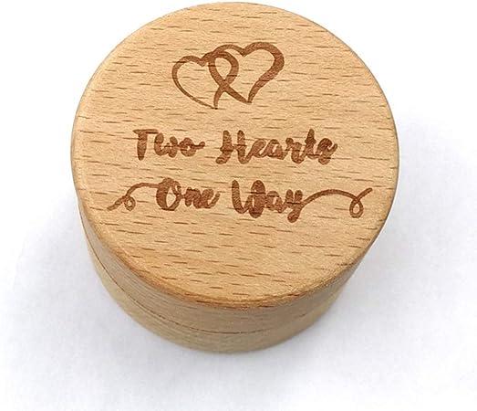 PowerBH Caja de anillo de haya redonda para boda de madera antigua con letra grabada caja de almacenamiento de almacenamiento de caja de joyería: Amazon.es: Hogar