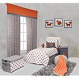 Bacati Playful Foxs 4 Piece Toddler Bedding Set, Orange/Grey by Bacati