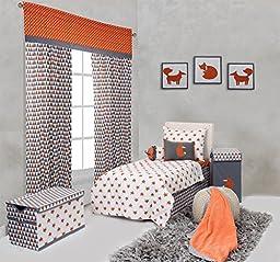 Bacati - Playful Foxs Orange/grey 4 Pc Toddler Bedding Set