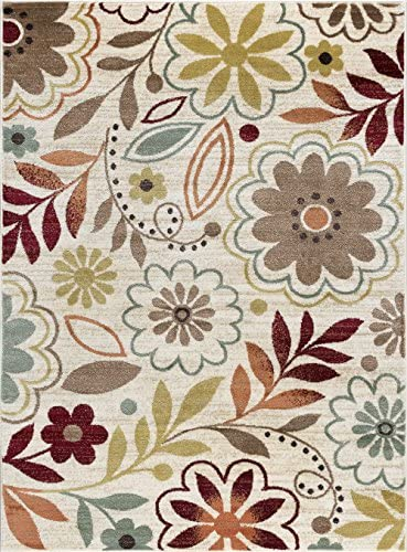 Heidi Transitional Floral Ivory Rectangle Area Rug, 5 x 7