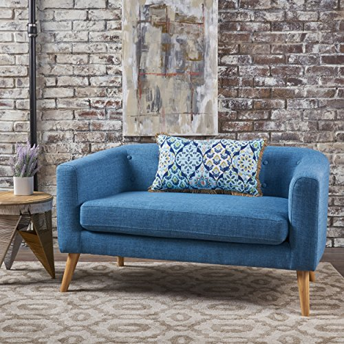 Christopher Knight Home 301293 Bron Yr AUR Button Back Mid Century Fabric Modern Loveseat Muted Blue ,