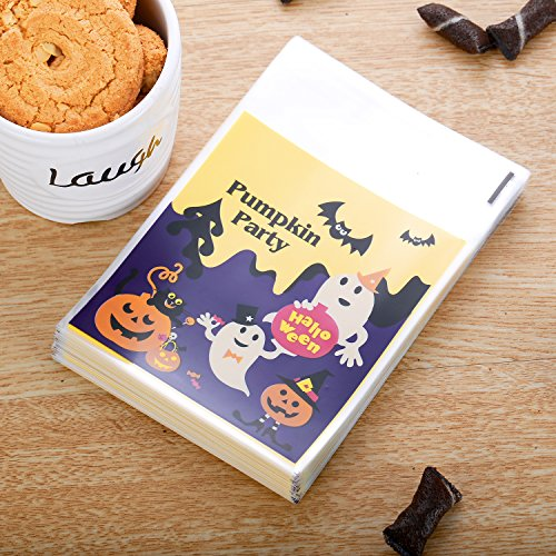 NEWAZA BRAND 100 Pack of Halloween Candy Bags Trick or Treat Goody Bags ()