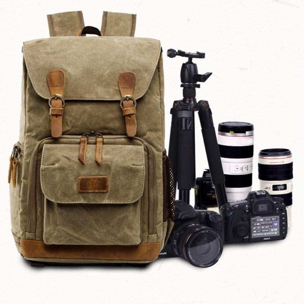 Binglinghua Vintage Camera Photography Backpack Waterproof Leather Canvas Bag Large Space-BLHTYC7007 Khaki
