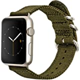 Premium Apple Watch Band: Olive Nylon for Silver Aluminum 42mm Apple Watch