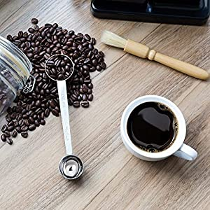 Coffee Grinder Brush Double Side Stainless Steel Scoop Set, Wooden Handle Natural Bristle Cleaning Brush, Multi-purpose Measuring Spoon (1 & 2Tbsp) for Home, Office, Coffee Shop, Tearoom