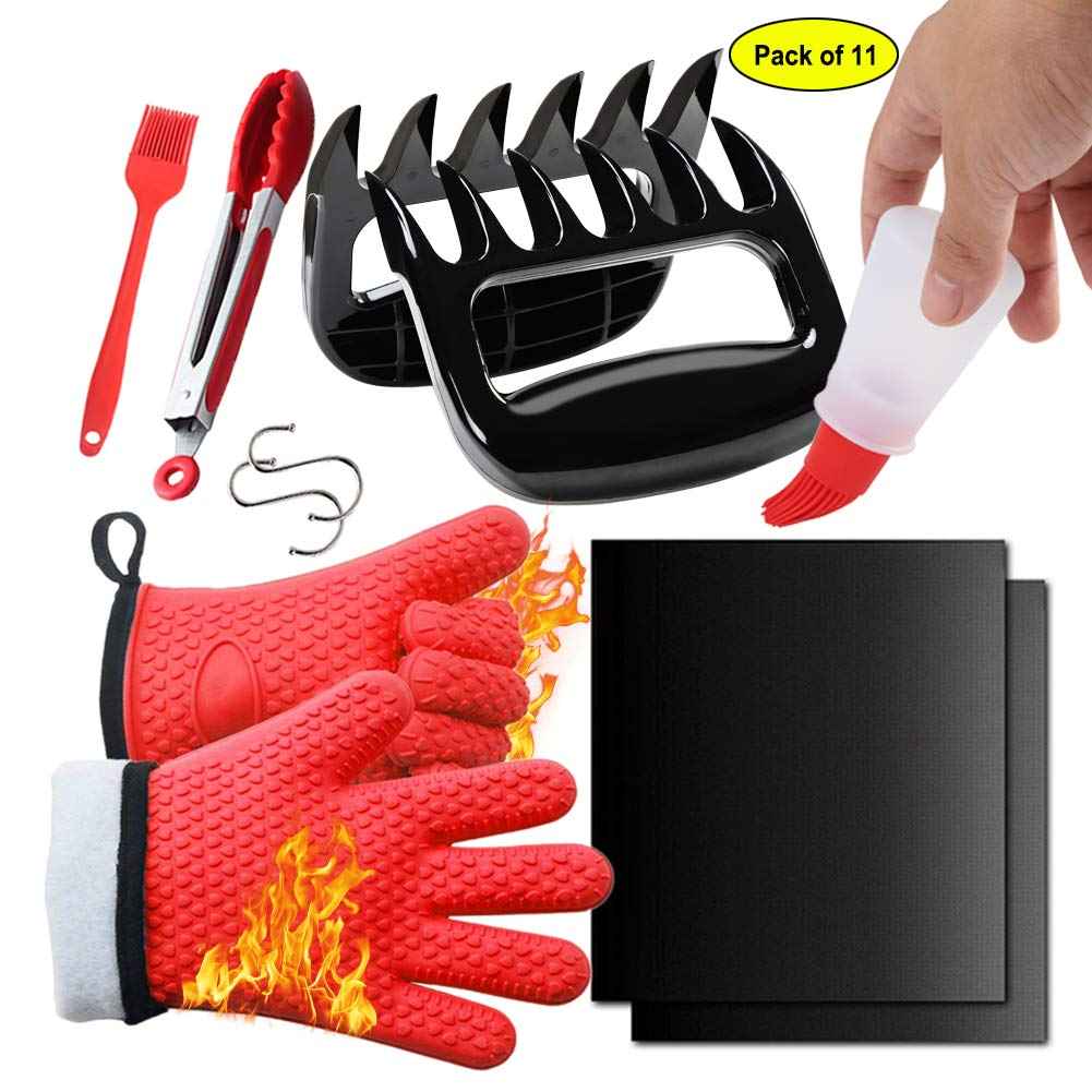 11PCS BBQ Set, 2 Thickened BBQ Gloves + 2 Solid Meat Shredder Claws + 1 Food Grade Silicone Tongs + 1 BBQ Basting Brush + 1 Oil Bottle Brush + 2 Non-stick BBQ Grill Mat + 2 S-shaped Hooks, Red Hero Star