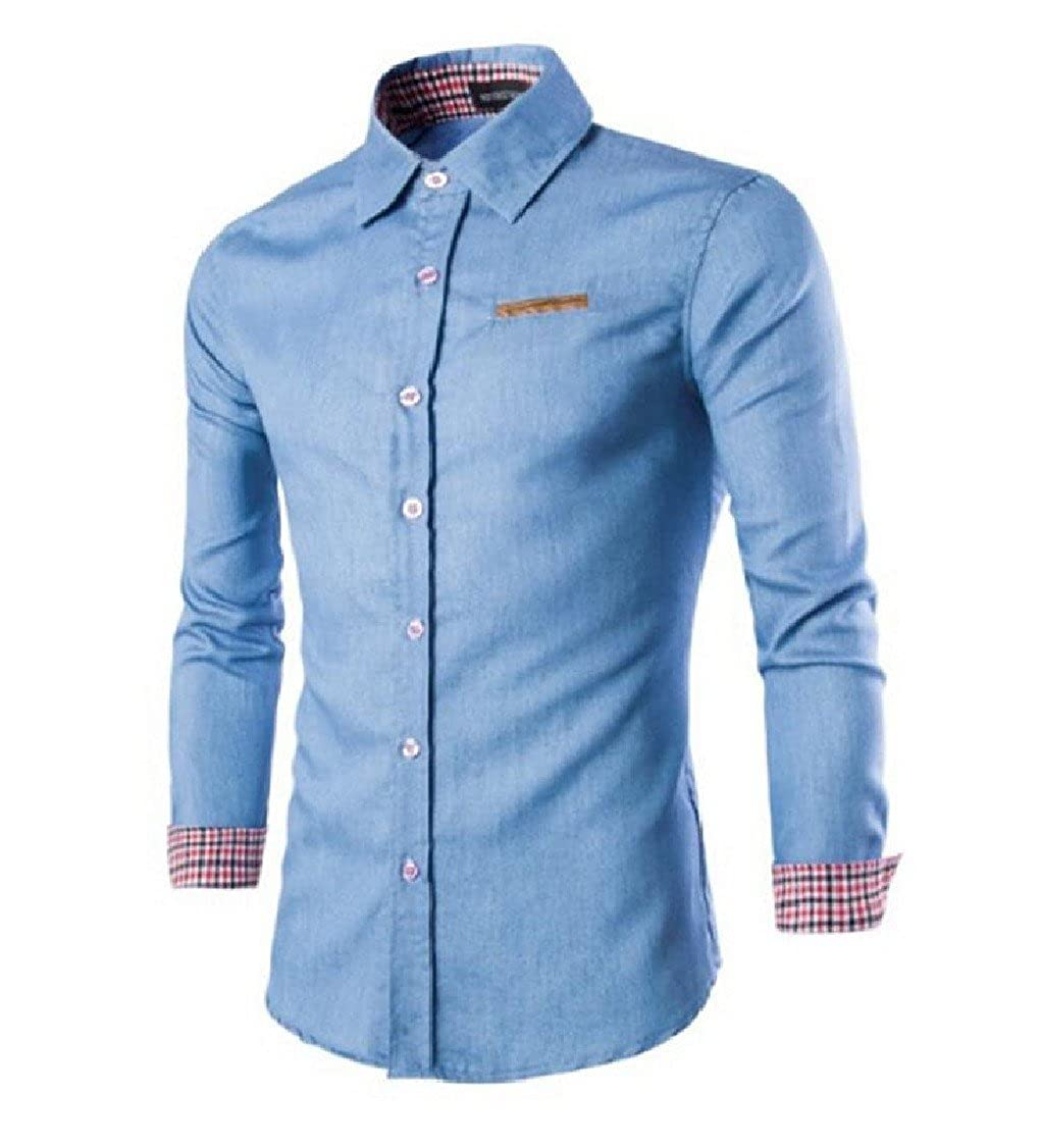 GodeyesMen Godeyes Mens Long Sleeve Plaid Cowboy Stitching Casual Collared Dress Shirts