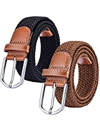 2 Pack Braided Canvas Belts Womens Woven Elastic Stretch Fabric Multicolored Belt