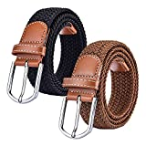 2 Pack Womens Canvas Elastic Fabric Woven Stretch Multicolored Braided Belts