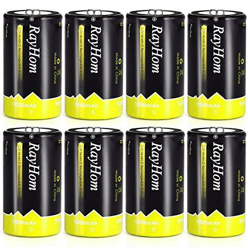RayHom DBatteriesRechargeable 10,000mAhNi-MHHighCapacity Battery (8 Pack) (Cell Rechargeable D Batteries)