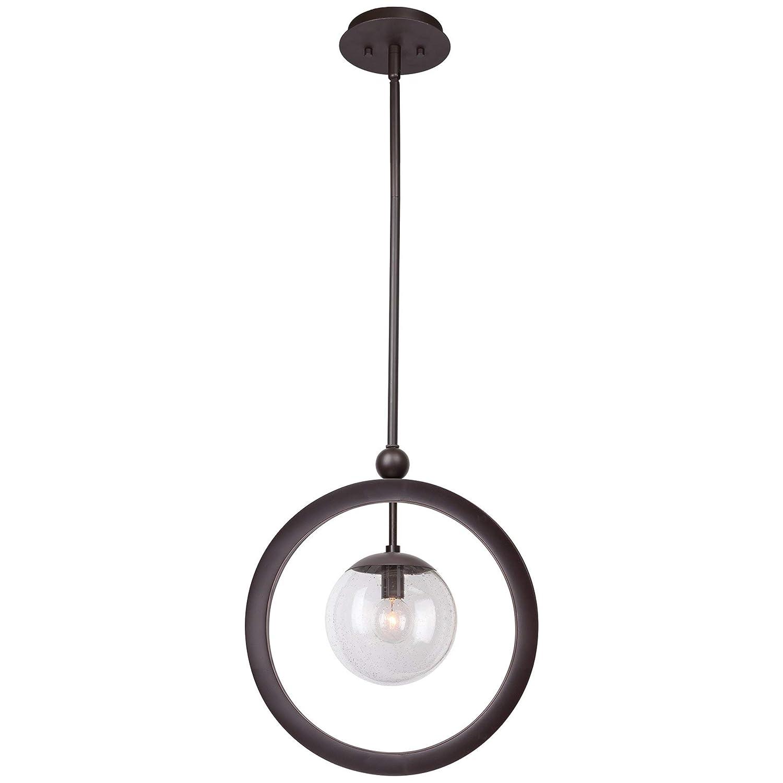 Globe Seeded Glass Shade Kira Home Andromeda 14.5 Modern Geometric 1-Light Ring Pendant Light Oil Rubbed Bronze Finish