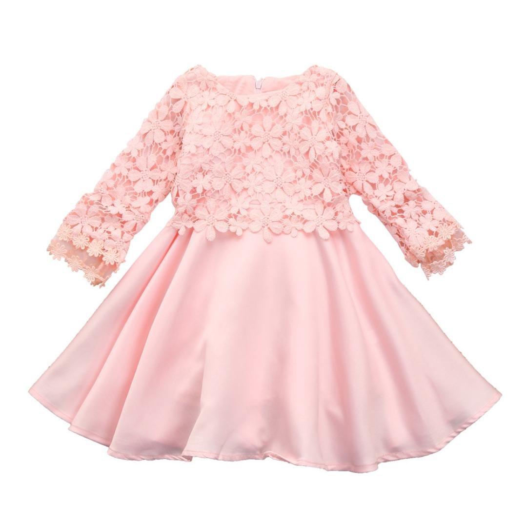 Vestidos Niña Fiesta, K-youth® Baratas Bebe Niños Ropa Bebe Niña Manga Larga Encaje Vestido Elegante de Princesa Chica 2-9 años: Amazon.es: Ropa y ...