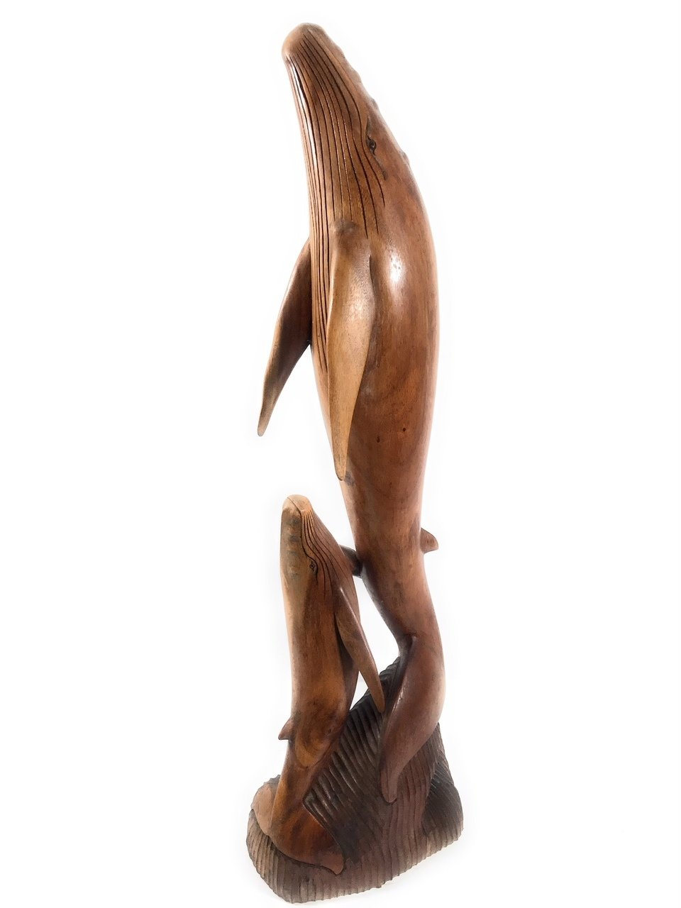 Exquisite Dolphin & Calf 40'' - Hand Carved - Hawaiian Treasure | #dal07a