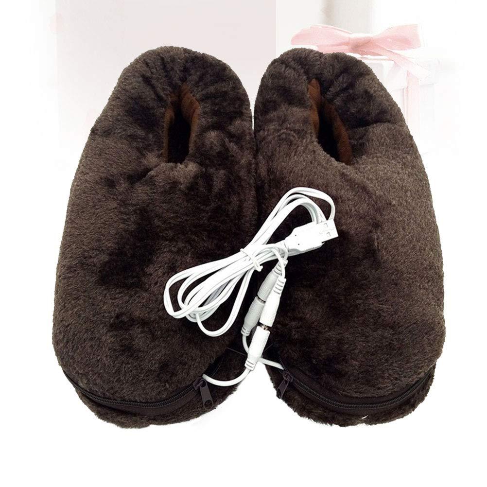 Pantuflas térmicas de felpa suave con calefacción por USB, 1 ...