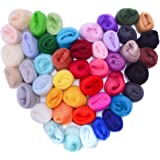 Zealor 45 Colors Needle Felting Wool, Wool Fibre Wool Yarn Roving for Needle Felting Hand Spinning DIY Craft Materials