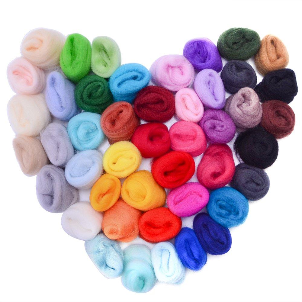 Zealor 45 Colors Needle Felting Wool, Wool Fibre Wool Yarn Roving for Needle Felting Hand Spinning DIY Craft Materials