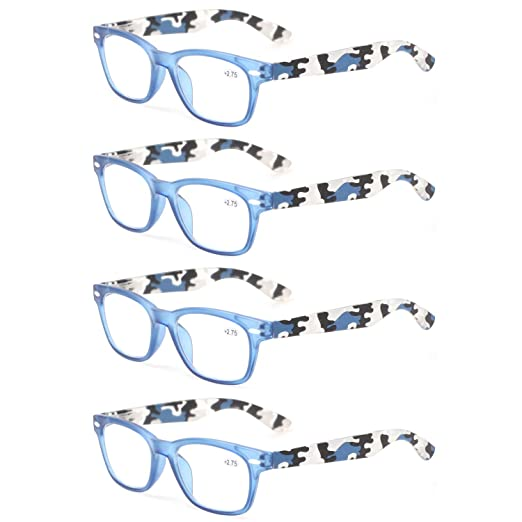1a536ea84ef4 Kerecsen 4 Pack Fashion Men and Women Spring Hinge Reading Glasses  Camouflage Arms Color Readers (