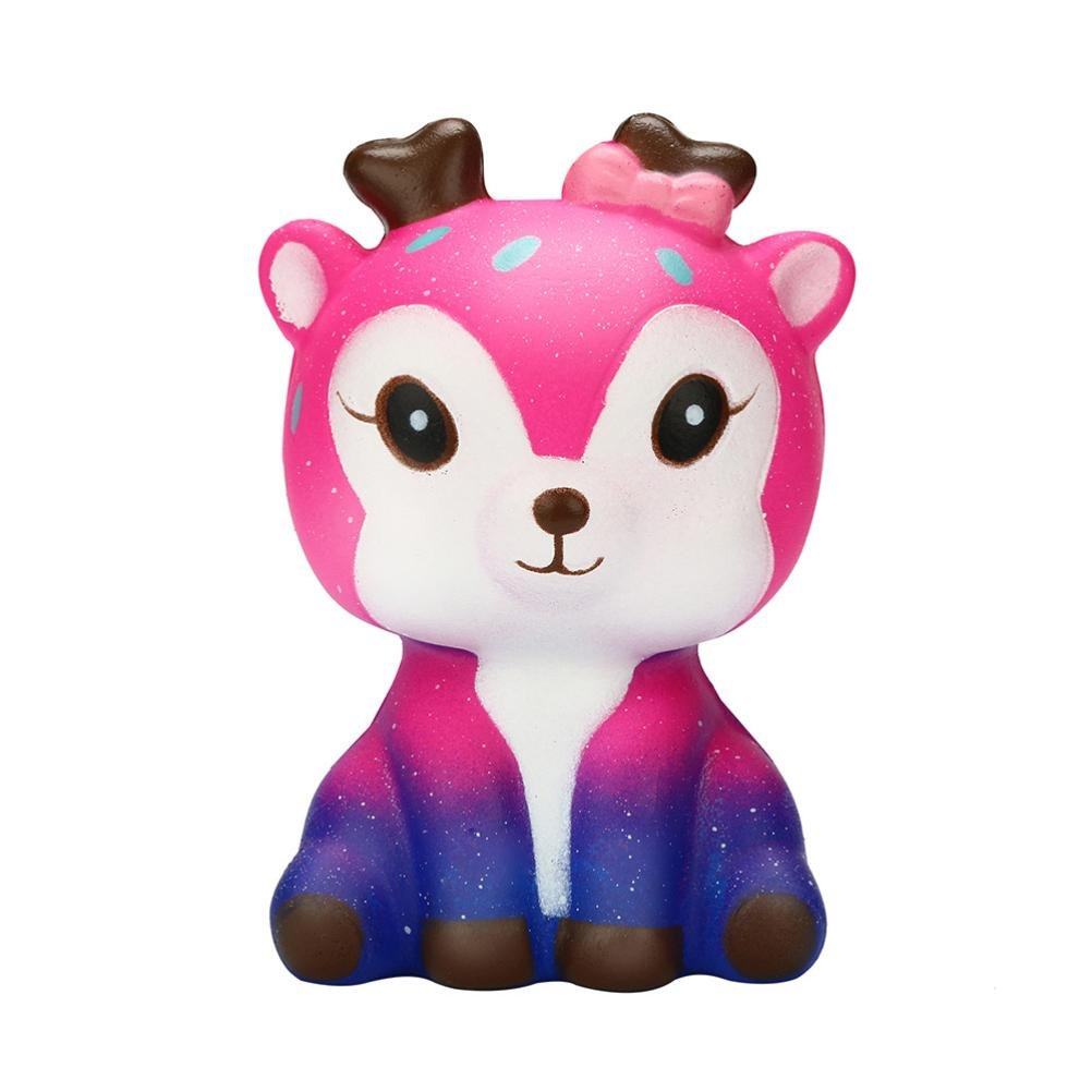 Cloudro Squishies Slow Rising Toy,Squishies Jumbo Scented Kawaii Animal Squishy for Boys Girls Party Gift Stress Reliever Toy,Galaxy Deer (C)