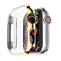 Liqiqi For Apple Watch Series 44mm Case Ultra Thin PC Plating Cases Screen Protector Protective Bumper Cover for iWatch Series 4 44MM