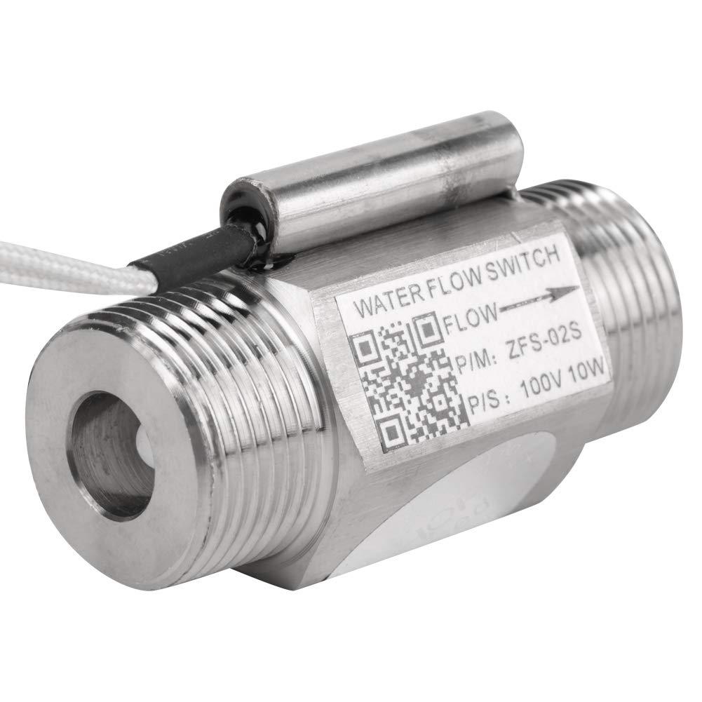 Walfront 3/4''NPT Double External Thread Strainless Steel Water Flow Sensor Switch for Water Heater
