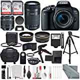 Canon EOS Rebel T7i DSLR Camera W/ EF-S 18-55mm f/4-5.6 IS STM + EF-S 55-250mm f/4-5.6 IS STM Lens, 2X 32GB, 58mm Telephoto & Wide-Angle Lens, Filters, Tripods Flash, Xpix Lens Accessories