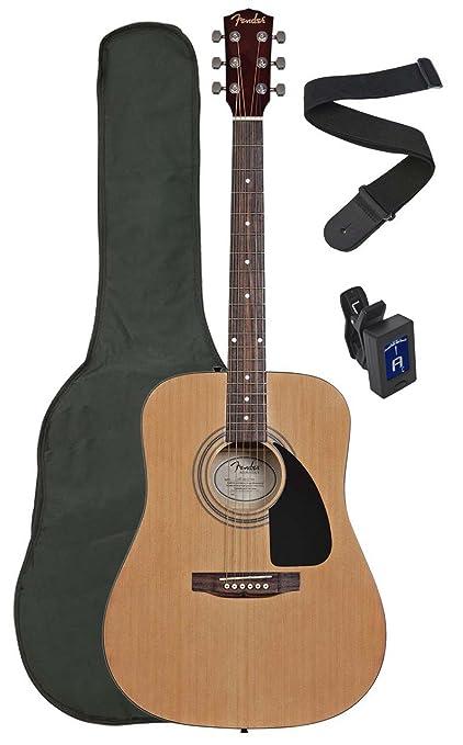 Fender Squier por Fender SA-100 Upgrade Pack de guitarra acústica con correa, funda