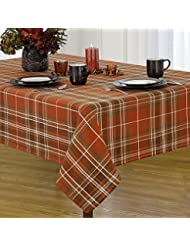 Newbridge Loden Autumn Plaid Thanksgiving Fabric Print Tablecloth, 100% Cotton, 60 Inch x 84 Inch Oblong/Rectangle