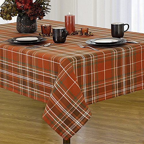 Harvest Tablecloth - Newbridge Loden Autumn Plaid Autumn Thanksgiving Fabric Print Tablecloth, 100% Cotton, 60 Inch x 102 Inch Oblong/Rectangle