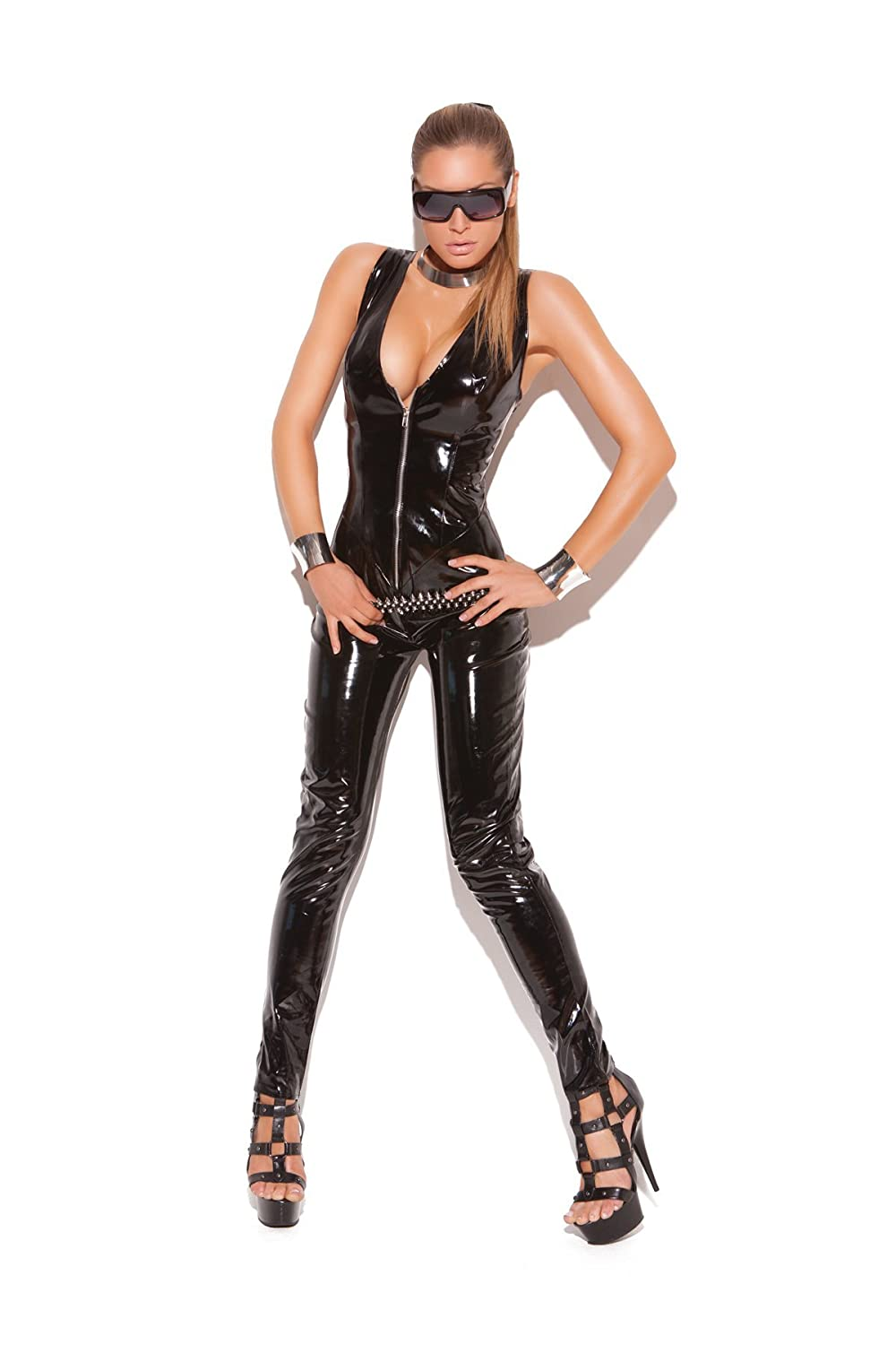 Elegant Moments Women's Deep V-Vinyl Cat Suit With Zipper Front, Black, Large V9216