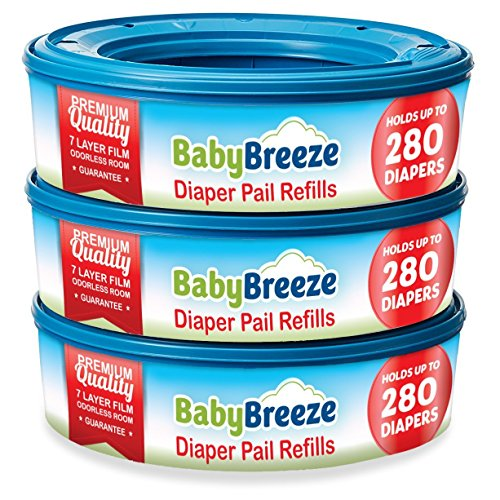 BabyBreeze Diaper Genie Refills for Playtex Diaper Genie and Diaper Pails - 840 Count (3-Pack)