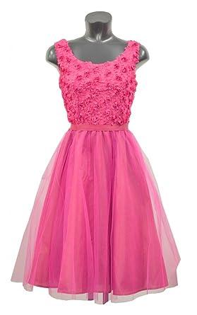 C&A PINK CERISE PROM DRESS TEXTURED FLORAL DRESS SIZE 36 38 40 42 44 46 48