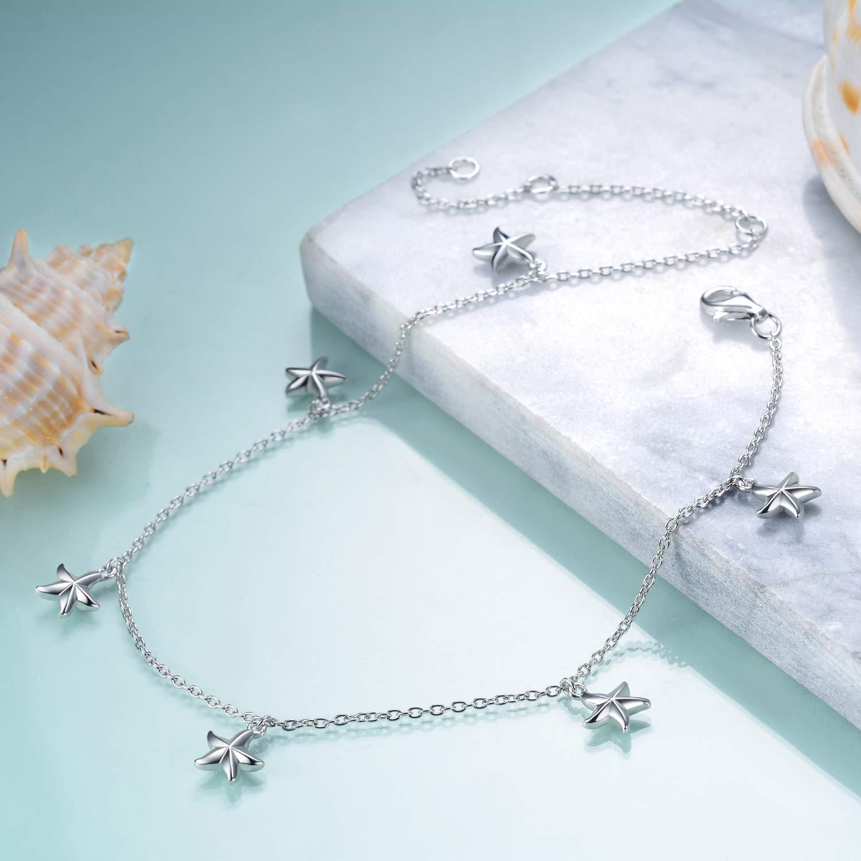 YFN Boho Beach Starfish Ankle Charm Bracelet Sterling Silver Anklet Chain Bracelet Beach Foot Jewelry for Women Little Girls (Starfish Ankle Bracelet) by YFN (Image #4)