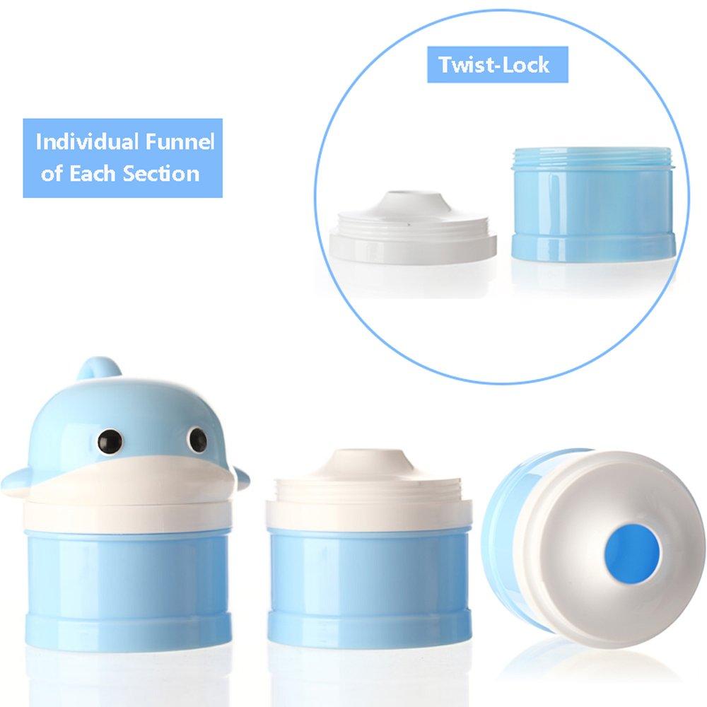 Milchpulver-Portionierer f/ür 3 Portionen Formel Spender Nein Mischen /& Versch/ütten Twist-Lock Stapelbare Snack Container Blau Wal