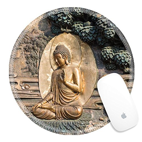 Luxlady Round Gaming Mousepad 25100649 Golden Buddha Statue At Lingshan Temple Wuxi China