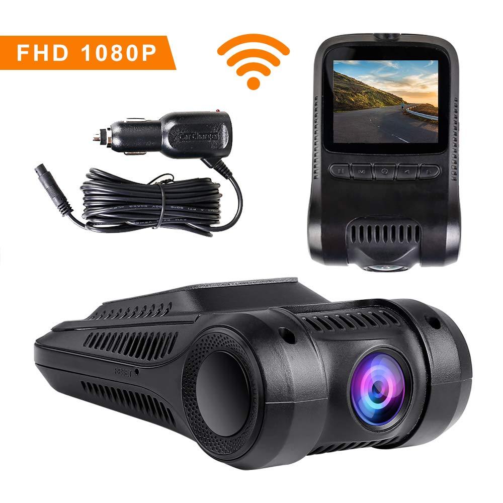 WIMIUS Dash Cam Telecamera per Auto WiFi, Può spostare la fotocamera, 1080P FHD 2,0' Schermo LCD, 170 gradi, G-Sensor, registrazione in loop, Monitor di parcheggio, Rilevatore di Movimento Può spostare la fotocamera 0 Schermo LCD