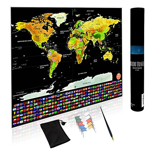 Scratch Off Map - Scratch World Map Large XL Size with US States Gold USA Outlined and Europe | U.S Travel Deluxe Scratch Off Includes Accessories Flag Push Pins and Scratch Pen By Birdo Travel by Birdo Travel